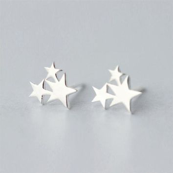 ac spbest Trusta Newest 925 Sterling Silver Women's Jewelry Fashion Cute Tiny 3 Star Stud Earrings Gift For School Girls Kids Lady DS85