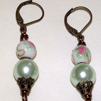 Classic hand Painted Earrings with Wonderful  Pink Flowers on Vintage White and Powder Green Pearls