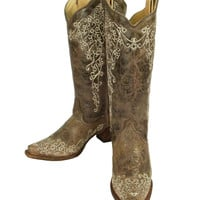 Corral Brown Crater Bone Embroidery Snip Toe Boots A1094