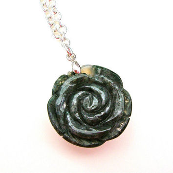 Moss agate rose pendant - carved rose necklace - carved stone pendant - moss agate pendant by Sparkle City Jewelry
