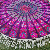 Round mandala Beach throw, roundies mandala, picnic blanket, wall tapestry, round mandala, fringed, boho beach bohemian hippie ethnic style