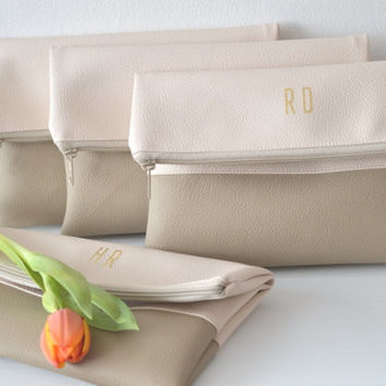 4 Monogrammed Clutches / Bridesmaids Gift / Personalized Evening Clutch Purse / Gold Monogram