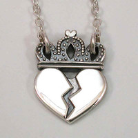 Heart Break Royalty Necklace Sterling Silver by SwankMetalsmithing