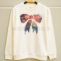 S M L -- Galaxy Bow Shirts Suit And Tie Shirts Funny Sweatshirt Tee Jumpers Long Sleeve Shirts Sweater Unisex Shirts Women Shirts Men Shirts