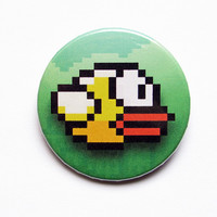 "Flappy Bird 1x1.5"" pinback button badge from Stickerama"