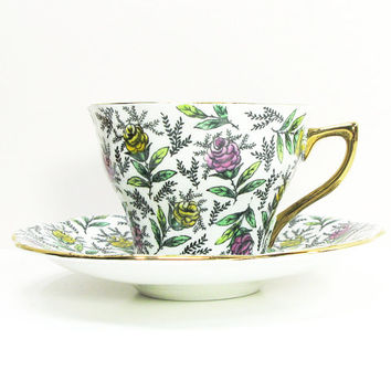 Rosina Bone China chintz tea cup and saucer with pink and yellow roses - Floral chintz teacup saucer set - Rosina pattern 5358
