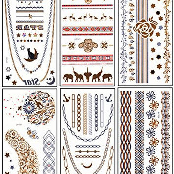 DaLin 6 Different Sheets Gold Silver and Black Body Temporary Metallic Tattoos Jewelry Inspired Bling Adult Temp Metallic Glitter Art Tattoos Long Lasting, Trendy Tattoo Designs - Necklace, Wrist Bracelet, Cat on Moon, Wings, Hand Print and more