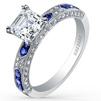 Kirk Kara Charlotte Blue Sapphire Diamond Engagement Ring