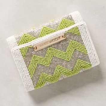 Chevron Beadwork Clutch by White Moon Lime One Size Clutches