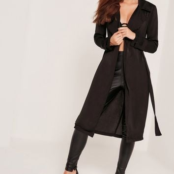 Missguided - Sarah Ashcroft Satin Duster Jacket Black