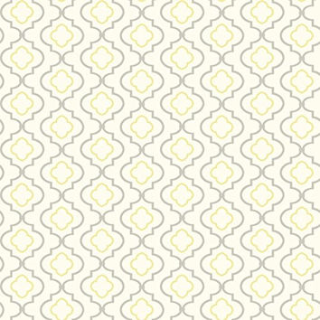 York Sure Strip Yellow Small Trellis Removable Wallpaper White / Yellow / Grey