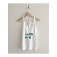 Mermaid Mint Aztec Elephant Print Fine Jersey Athletic Racerback Tank Top