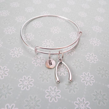 Good Luck Bracelet, Best Friend Gift, Handstamped Initial Jewelry, Silver Wishbone Bracelet, Gift for Friend