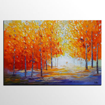 Large Wall Art, Canvas Art, Oil Painting, Autumn Tree Painting, Large Abstract Art, Original Wall Art, Abstract Painting, Canvas Painting