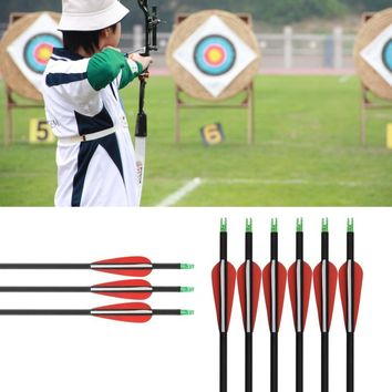 12pcs/lot 30''Length Carbon Arrow Archery For Compound Recurve Bow Hunting Shooting Target Practice Suitable For Beginners