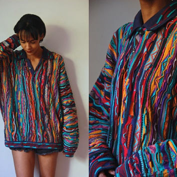 Vtg Men's Coogi Colorful Mix Knit Button Collar Sweater