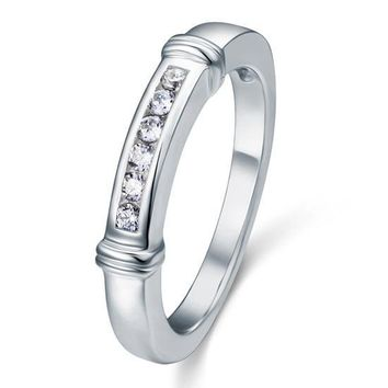 Classy channel set sterling silver engagement ring