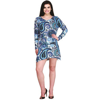 Outlaw Western Womens Paisley Long Sleeve Printed Shark Bite Tunic Dress