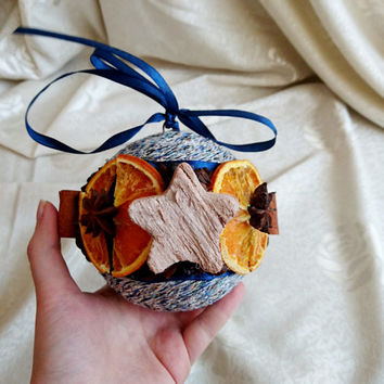 XMAS SALE black friday Fragrant blue orange christmas tree ornament cinnamon, coconut stars, dried orange, cotton cord decoration natural