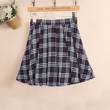 Fashion preppy style pleated skirt plaid skirt school uniform skirt girls fresh short skirt small