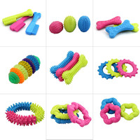 1PC Cute Rubber Resistant Bite Clean Teeth Chew Training Toy For Pet Dog Cat Puppy random color  -Y102