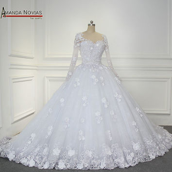 100% Real Pictures Amanda Novias Top Quality Beading Lace Wedding Dress With Sleeves 2017
