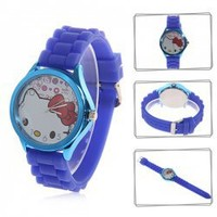 Trendy 9688 Hello Kitty Patterned Dial Quartz Hours Analog Rubber Wristband Watch with Numerals Indicate Time - Blue Hot Sale At Wholesale Price - Gadgetsdealer.com