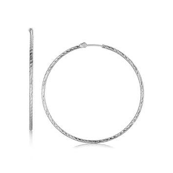 Sterling Silver Thin Diamond Cut Hoop Earrings with Rhodium Plating (45mm)