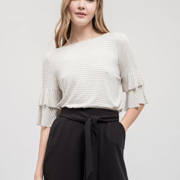 Women's Striped Ruffle Top with Back Tie