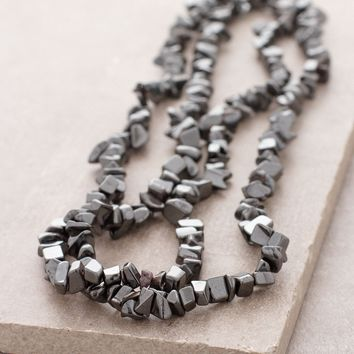 Hematite Gemstone Chip Necklace