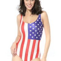 American Flag Print One-Piece Swimwear