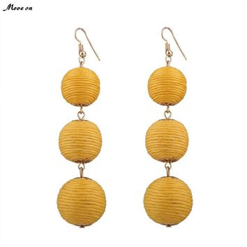 Bon Bon Triple Solid Thread Wrapped Ball Drop Earrings
