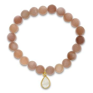 Mother of the Bride Boxed Peach and White Moonstone Drop Charm Bracelet