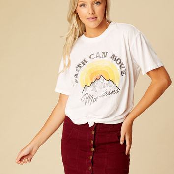 Altar'd State Faith Can Move Mountains Top - Short Sleeve - Tops - Apparel