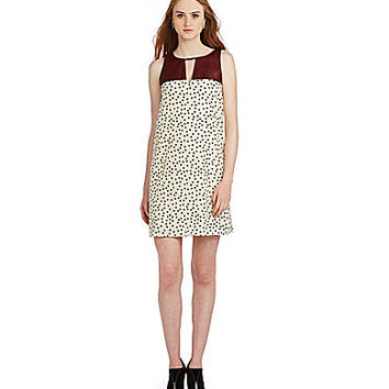 THML Polka-Dot Faux-Leather Shift Dress - Cream