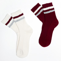 Athletic Stripe Socks 2-Pack | Wet Seal
