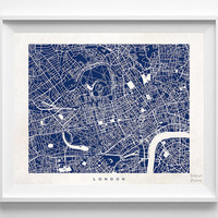 London, Map, England, State, English, Print, Beautiful, Nursery, Poster, Art, Decor, Town, Illustration, Room, World, House, Street [NO 579]