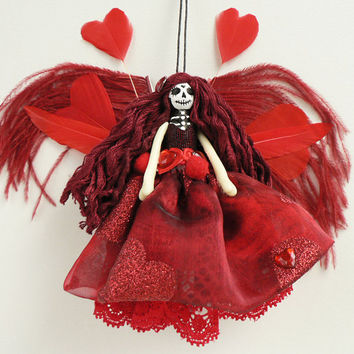 Day of the Dead Showgirl Fairy Ornament, OOAK