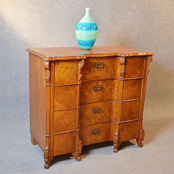 Antique Chest of Drawers Large Burr Walnut Serpentine Top Quality Austrian c1900
