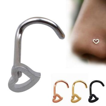 ac PEAPO2Q LNRRABC 1PC New Fashion Open Hoop Ring Piercing Studs Nose Rings & Studs Stainless Steel Metal Heart Corner Body Jewelry