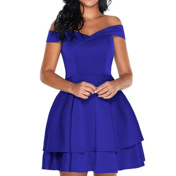 Chicloth Navy Off Shoulder Layered Short Prom Dress