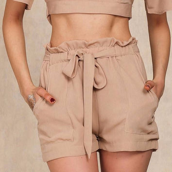 Chiffon shorts Bow high waist belt shorts