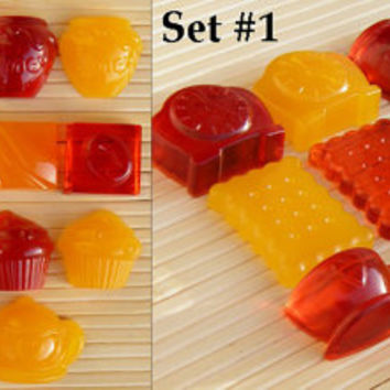 Set Candy cabochons - Resin handmade cabochons - Craft supplies - Art projects for kids - Custom jewelry - Wholesale jewelry