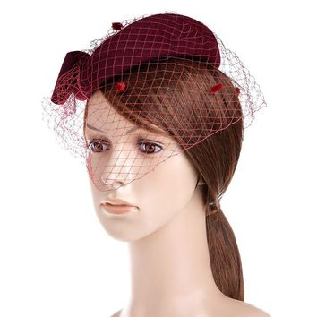 VBIGER Womens Hat Dress Fascinator Wool Felt Pillbox Hat Party Wedding Bow Veil