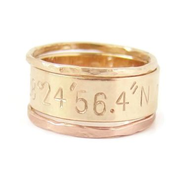 Stacking Ring Set with Custom Coordinates