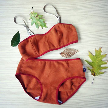 Pumpkin orange cashmere lingerie set -  bra and panties - washable.