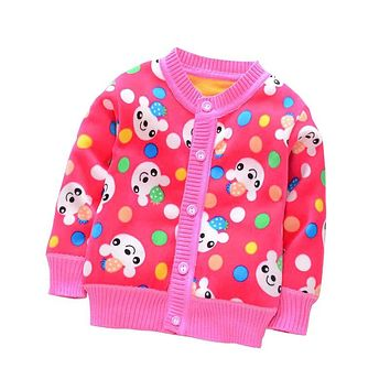Spring Autumn Baby Girls Sweaters Toddler Boys  Cardigan Sweater Kids Warm Cartoon Outerwear Baby Winter Clothes