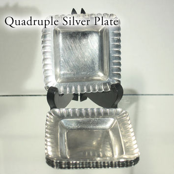 Quadruple, Silverplate Ashtrays, Set of 6, Sterling Plate, Personal Ashtrays, High Quality, Heavy Plating, 1950s Mid Century