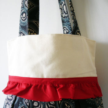 Blue Handbag,Blue tote bag,Blue purse,Red blue handmade bag