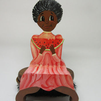 Black Americana Girl With Watermelon Shelf Sitter-Wooden One of a Kind Handmade-Hand Painted-Country Decor-Primitive Decor-Collectible-Gift